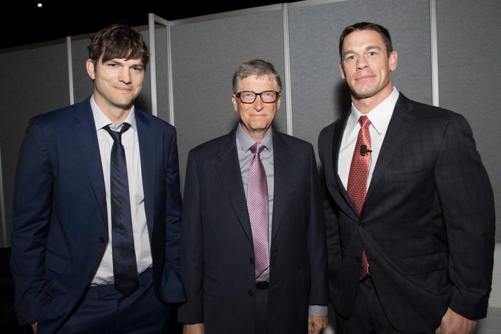 Ashton Kutcher, Bill Gates, and John Cena