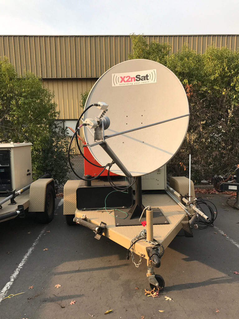 X2nSat emergency trailers are equipped with generators and can be quickly deployed as mobile command centers for emergency communications. This one was provided to the Mayacamas Volunteer Fire Department in Glenn Ellen, California, a town that lost many phone and power lines in the Northern California wildfires.